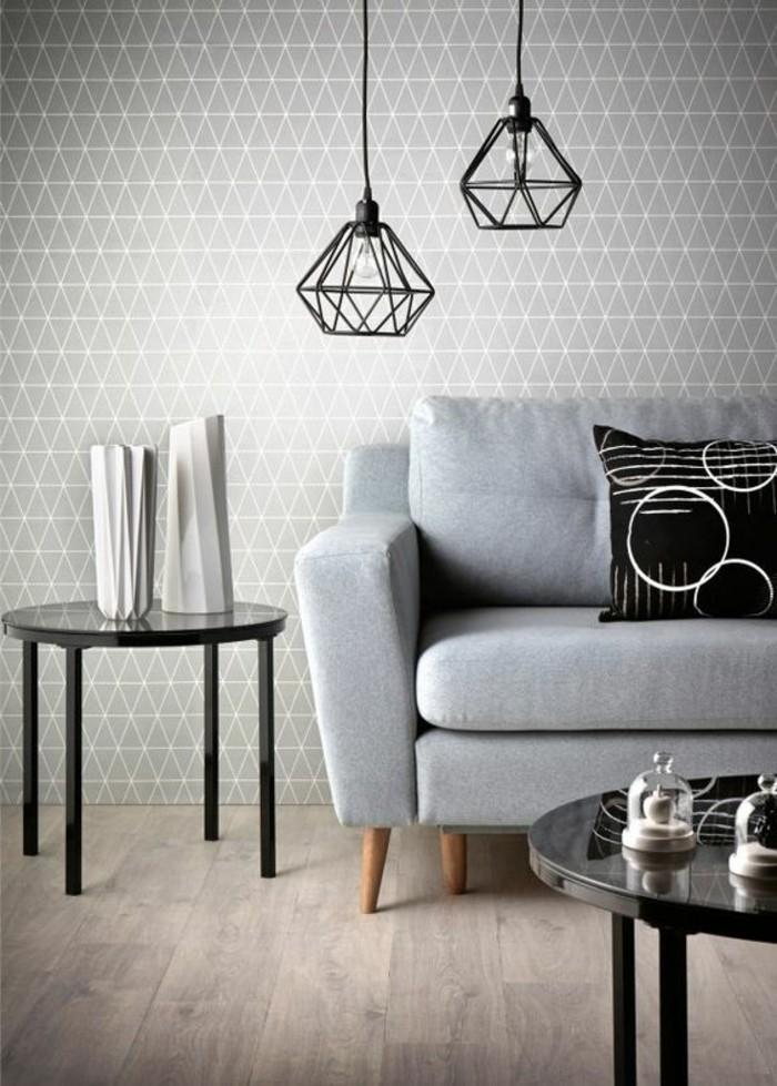 wandgestaltung-ideen-graue-tapete-mit-geometrischen-formen-lampen-schwarzer-tisch-schwarzer-tisch-weise-vasen