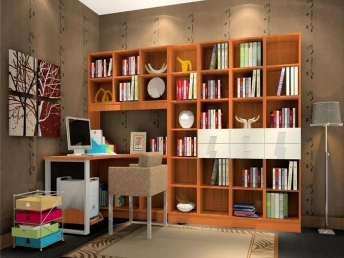 wandregal-ideen-in-oranger-farbe-in-arbeitszimmer