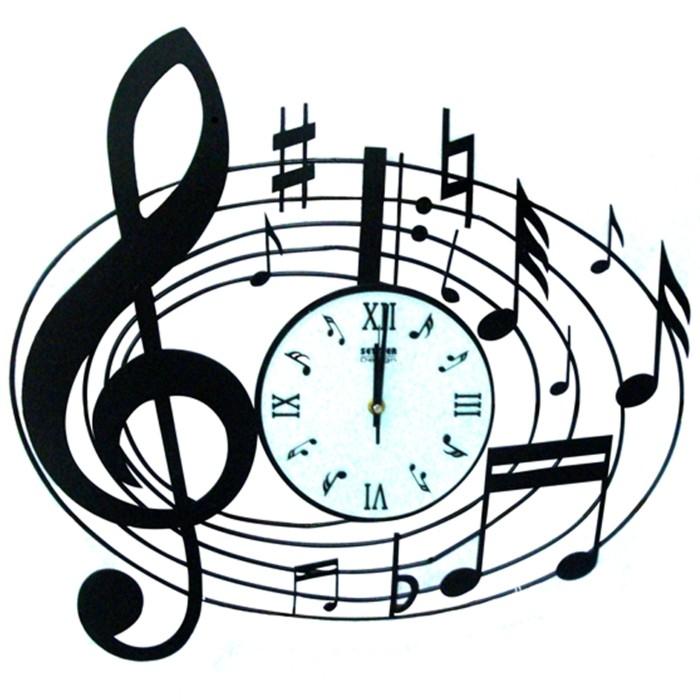 wanduhren-modern-musiknoten-ovale-form-rundes-weisses-zifferblatt