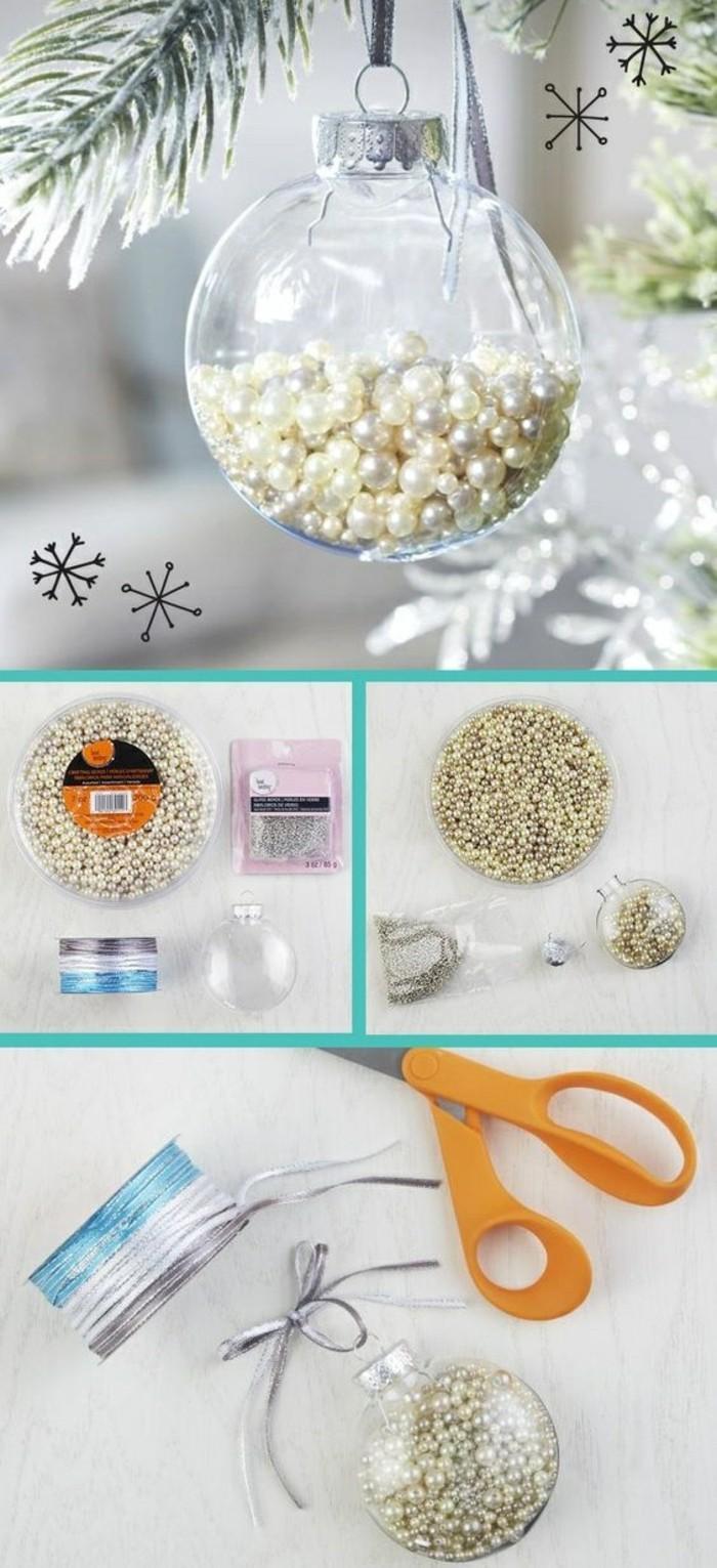 weihnachtsbasteleien-weihnachtskugeln-mit-weisen-perlem-dekorieren-schere-faden