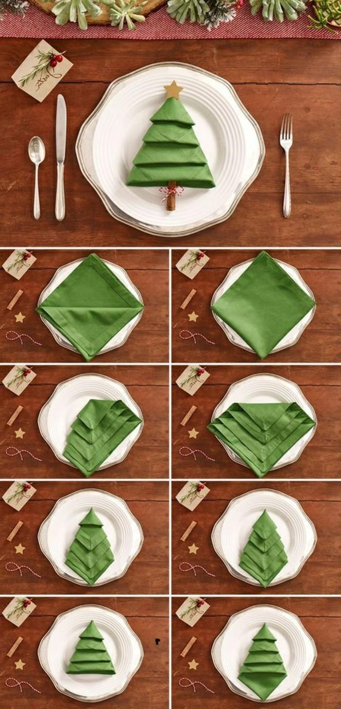 weihnachtsdeko-selber-machen-grune-serviette-falten-weihnachtsbaum-weise-teller