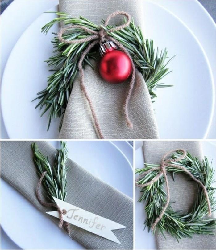 weihnachtsdeko-selber-machen-roter-kugel-immergrune-zweigen-graue-servietten
