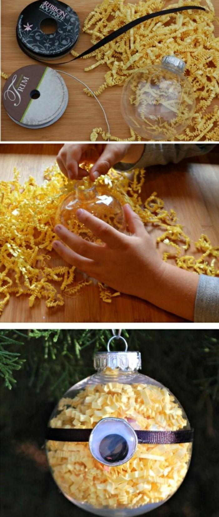 weinachtsbastelideen-weihnachtkigeln-gelbes-papier-schwarze-schleife-minion