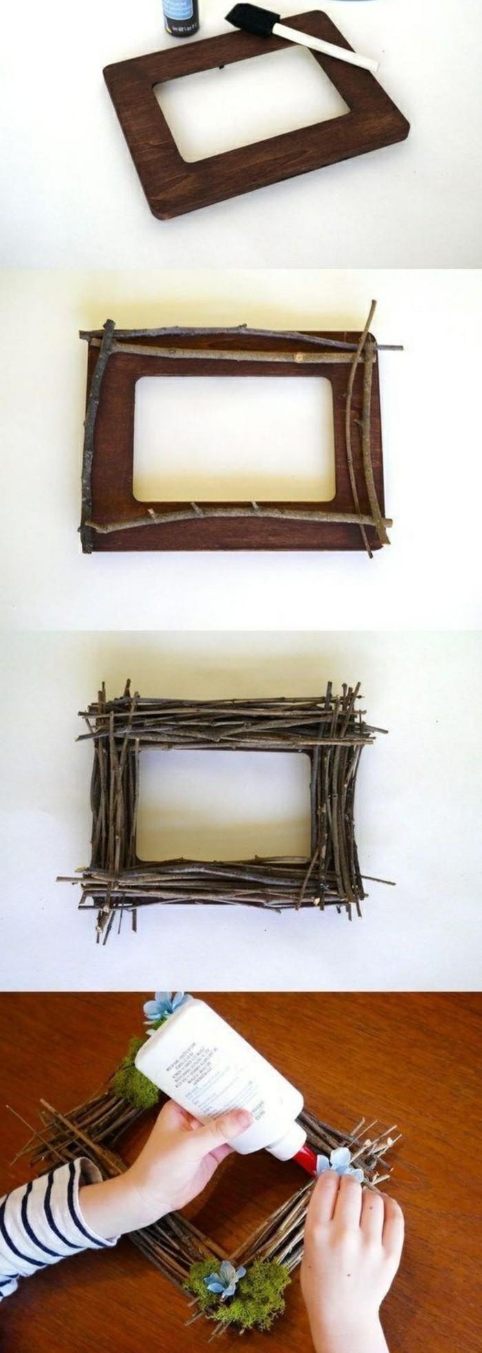 wohnideen-selber-machen-bilderrahmen-mit-blumen-aus-aesten-dekorieren