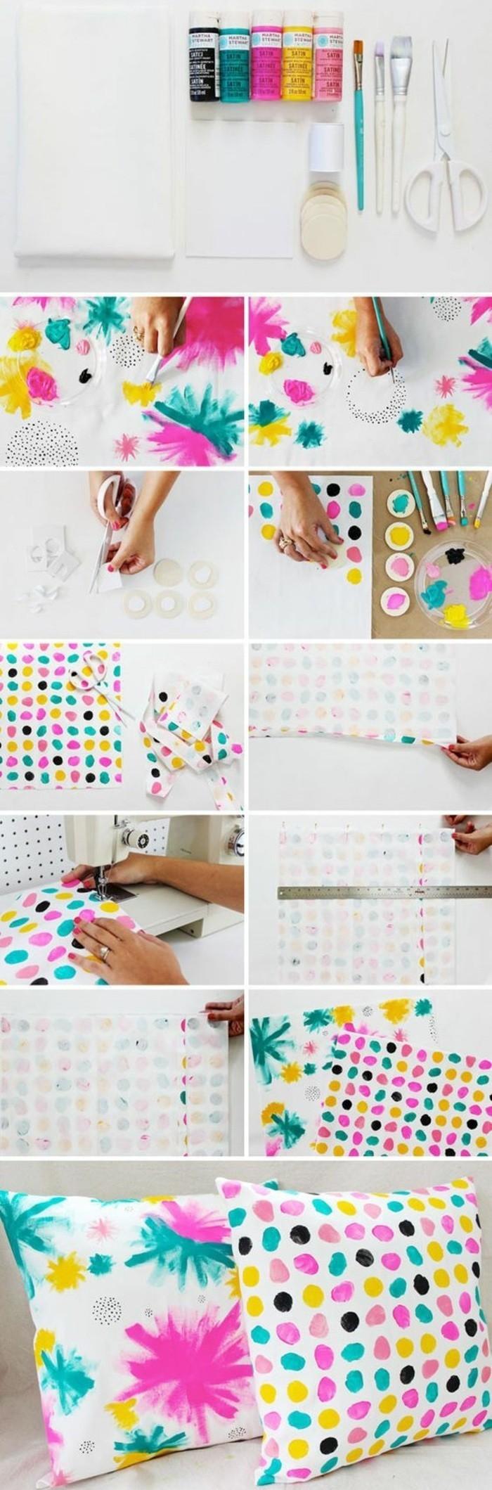 wohnideen-selber-machen-kissen-mit-bunten-farben-dekorieren