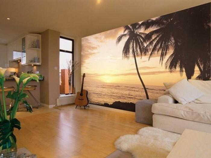 wohnzimmer-tapeten-fototapete-meer-guitar-blumen-sofa-boden-aus-holz