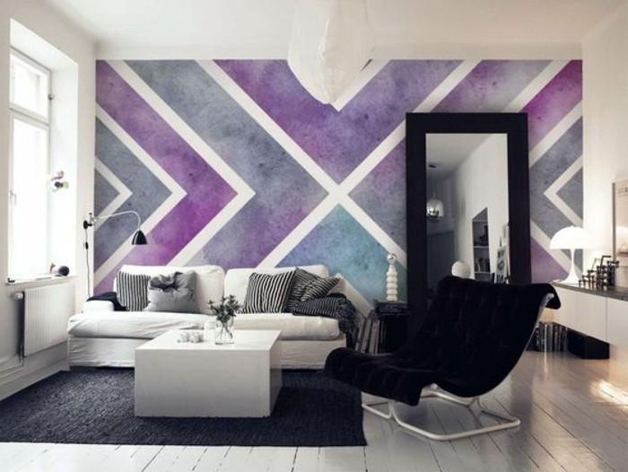 Wohnzimmer Tapeten Lila Geometrische Formen Weiser Sofa Schwarzer  Tapeten  Ideen Für ...
