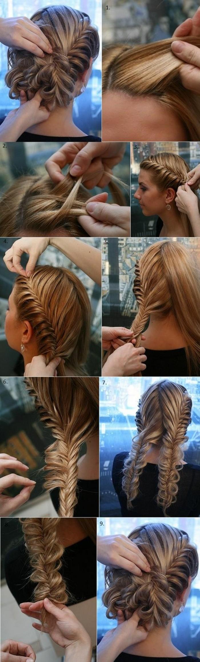 10-hochsteckfrisuren-anleitung-blonde-lange-haare-diy-frisur-zöpfe-binden-frau-ohrringe