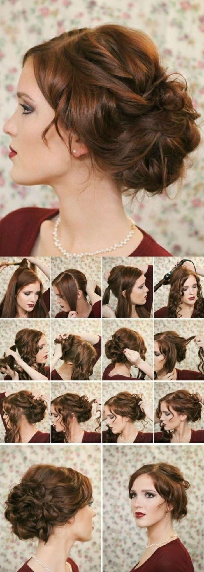 10-hochsteckfrisuren-selber-machen-dunkelbraune-haare-hochstecken-frau-rote-bluse-make-up