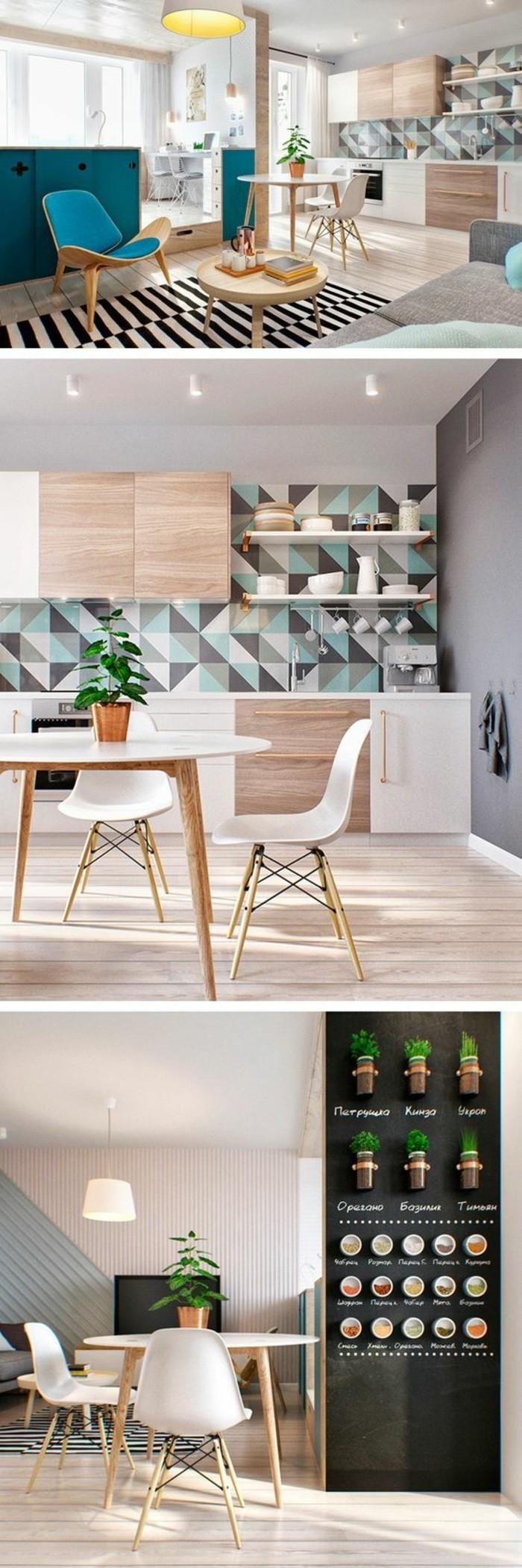 10-küche-dekorieren-tisch-stühle-wanddeko-teppich-kräuter-lampe-pflanze-schwarze-wand