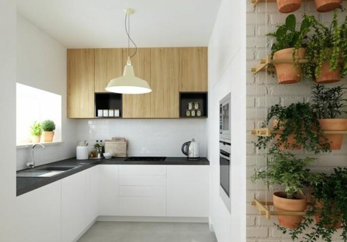10-küchendekoration-wanddeko-blumentöpfe-gr+ne-pflanzen-lampe-weiße-schränke-waschbecken