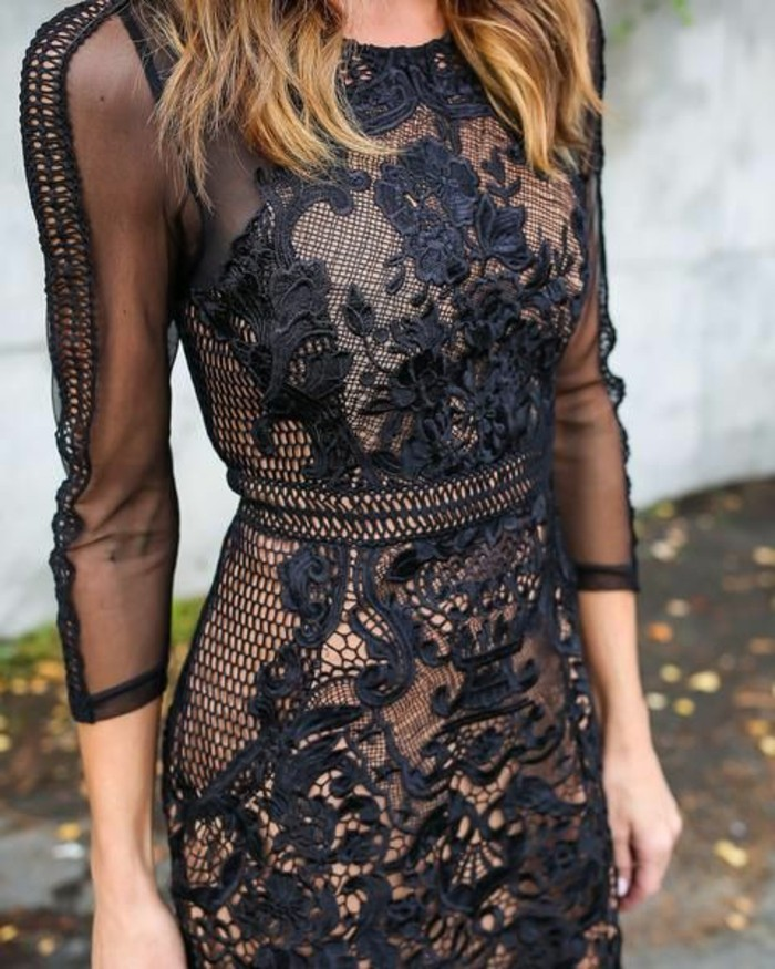 Kleid spitze schwarz beige