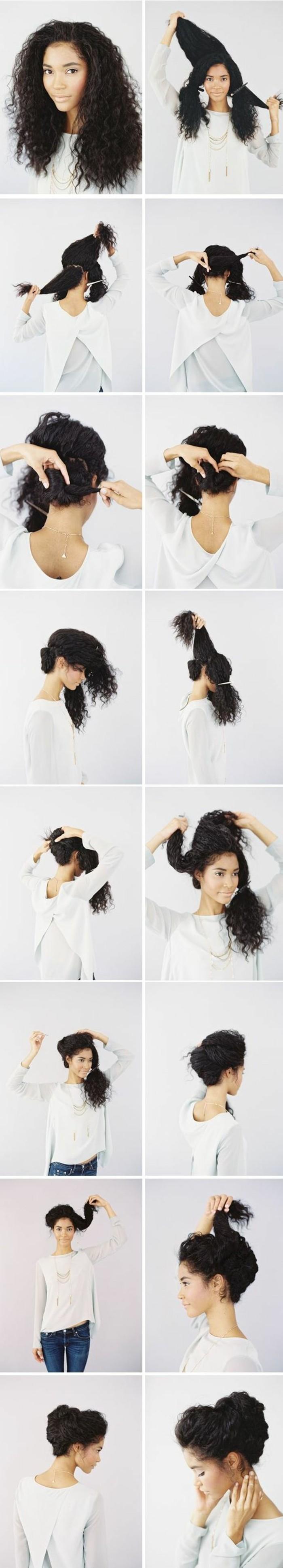 111111-hochstechfrisuren-lange-haare-weiße-bluse-lockige-schwarze-haare-hochstecken