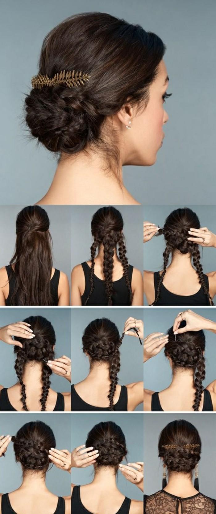 3-hochsteckfrisuren-anleitung-dunkelbraune-lange-haare-kopfschmuck-schwarze-bluse-frau-zöpfe