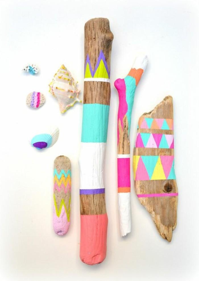 3-treibholz-ast-bunt-bemalen-dekoration-muschel-bunte-farben-diy