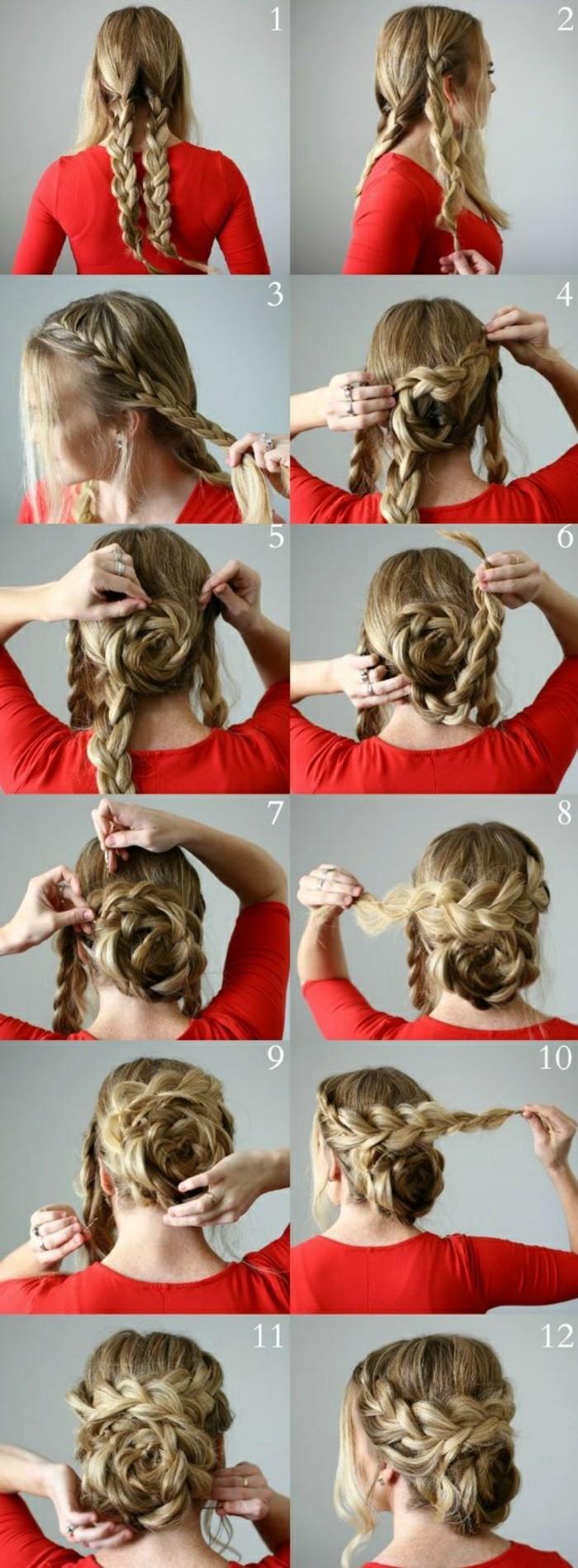 4-haare-hochstecken-lange-blonde-haare-zöpfe-binden-rote-bluse-hochsteck-frisur