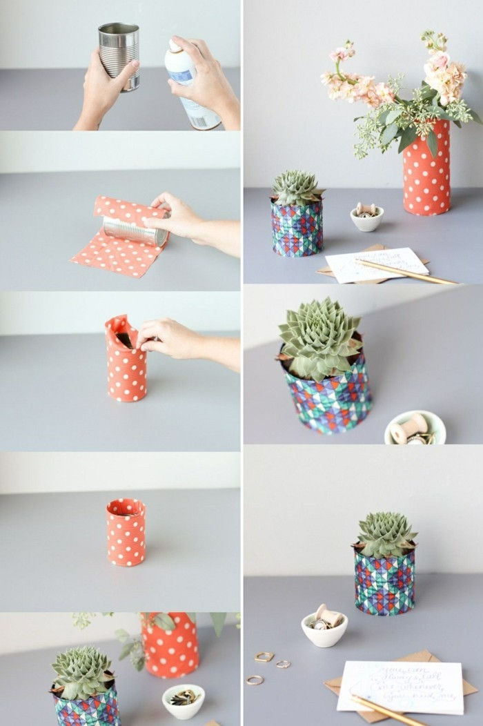 4-kreative-bastelideen-konservendose-buntes-papier-bleistift-blumen-gruene-pflanze-spray