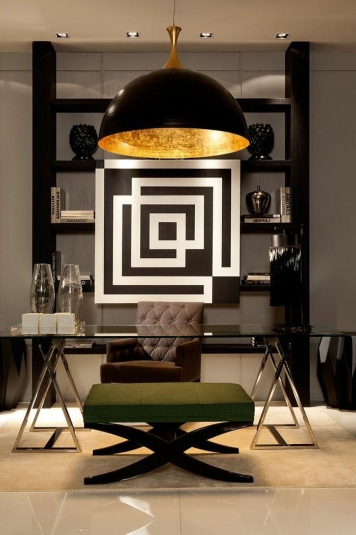 5-arbeitszimmer-gestalten-tisch-aus-glas-groer-gruener-hocker-flisen-lampe-glasvasen