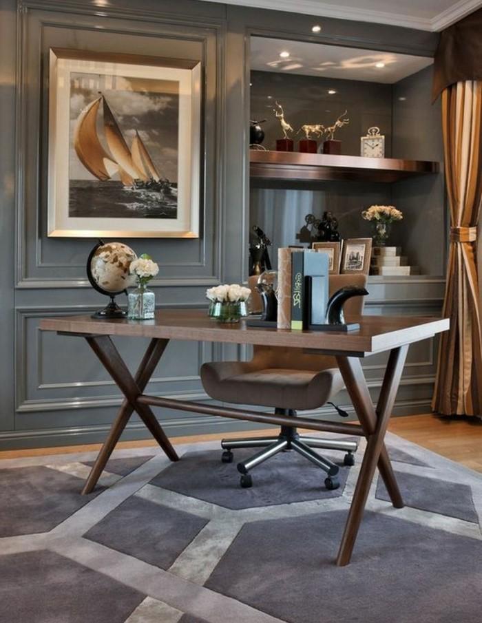 6-arbeitszimmer-einrichten-schreibtisch-stuhlglobus-teppich-bild-rosen-dekoartikel