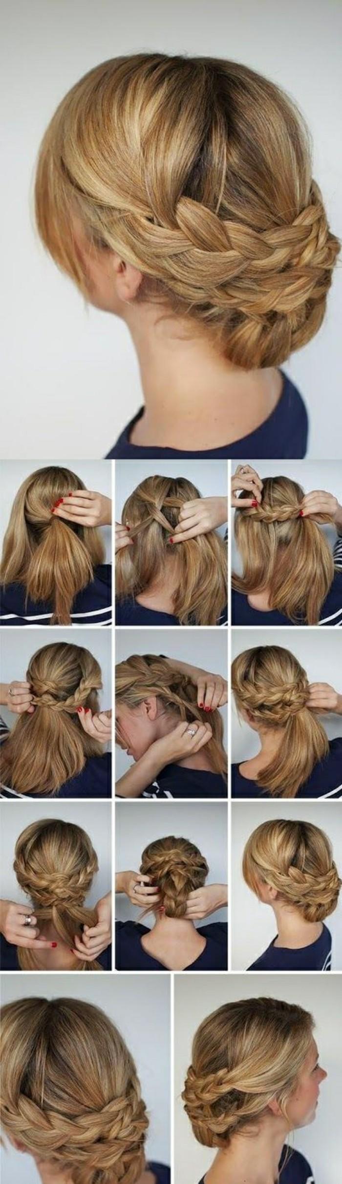 6-frisuren-zum-selber-machen-lange-blonde-haare-dunkelblaue-bluse-frau-diy-hochsteck-zopf