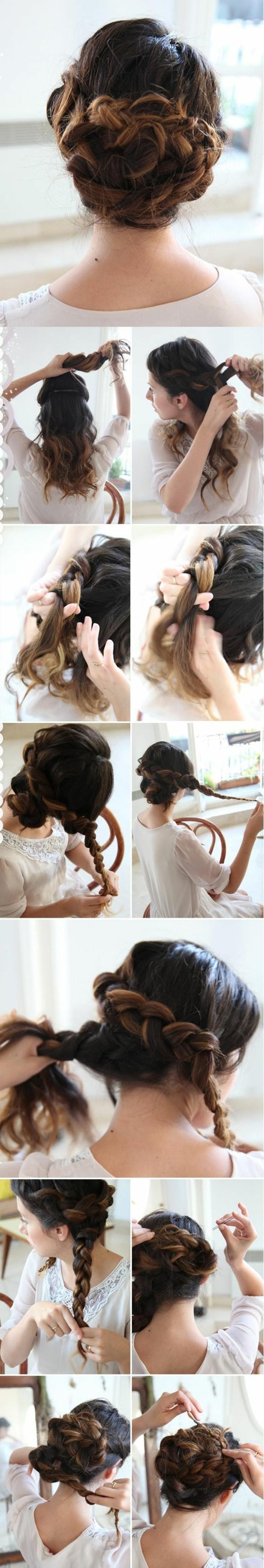 7--frisuren-zum-selber-machen-dunkelbraune-lockige-haare-hochstecken-zopf-weiße-bluse-diy-frisur