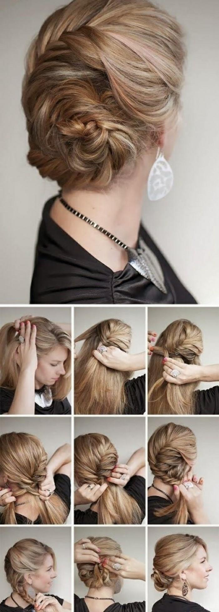 8-hochsteckfrisuren-selber-machen-blonde-haare-hochstecken-schwarze-bluse-große-ohrrige-kette