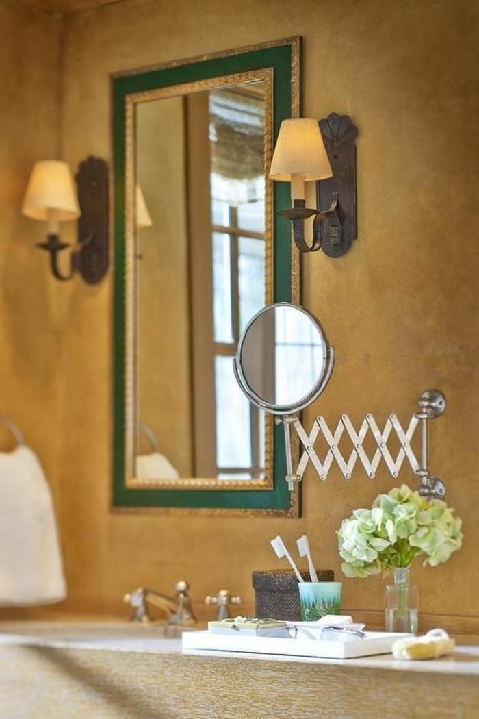 Badezimmerwände-ohne-fliesen-orange-wände-viele-spiegel