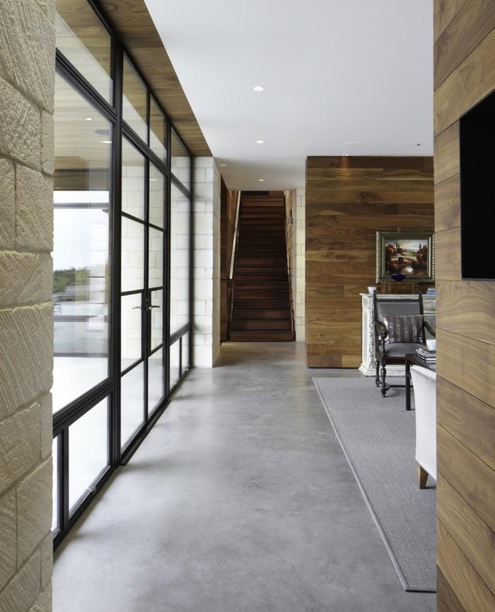 Gestaltungsideen-Flur-panelle-an-den-wänden-grauer-boden