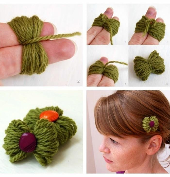 Haarschmuck-selber-machen-anleitung-aus-grünen-fäden
