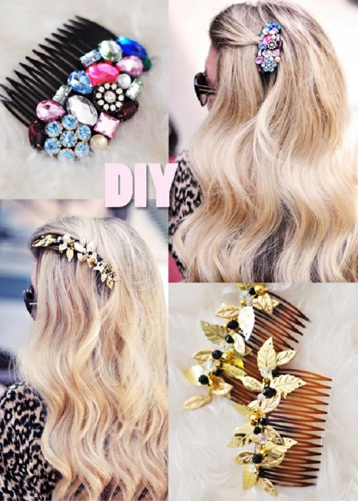 Haarspangen-selber-machen-mit-glasperlen-wie-blumen-geordnet-für-langes-haar
