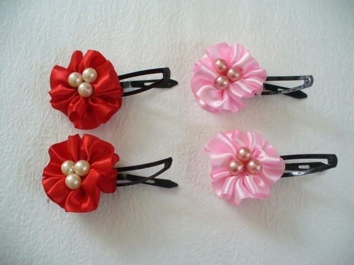 Haarspangen-selber-machen-zwei-arten-von-verzierung-rot-und-rosa