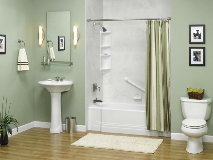 alternative-zu-fliesen-kompakte-badewanne-grün-gestrichene-wände-laminat