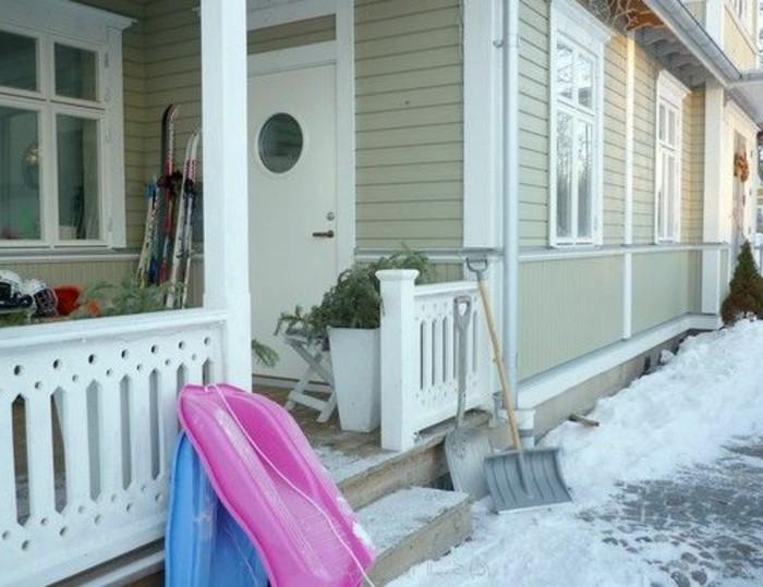 amerikanische holzhuser im winter veranda