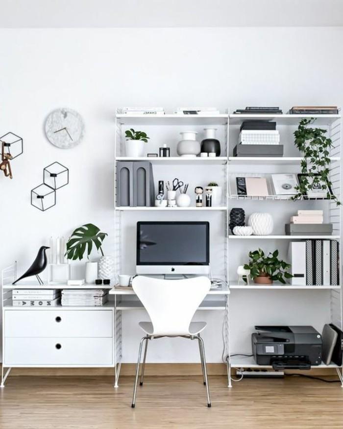 arbeitszimmer-einrichten-weisser-schrank-stugl-computer-gruene-pflanzen-dekorationen