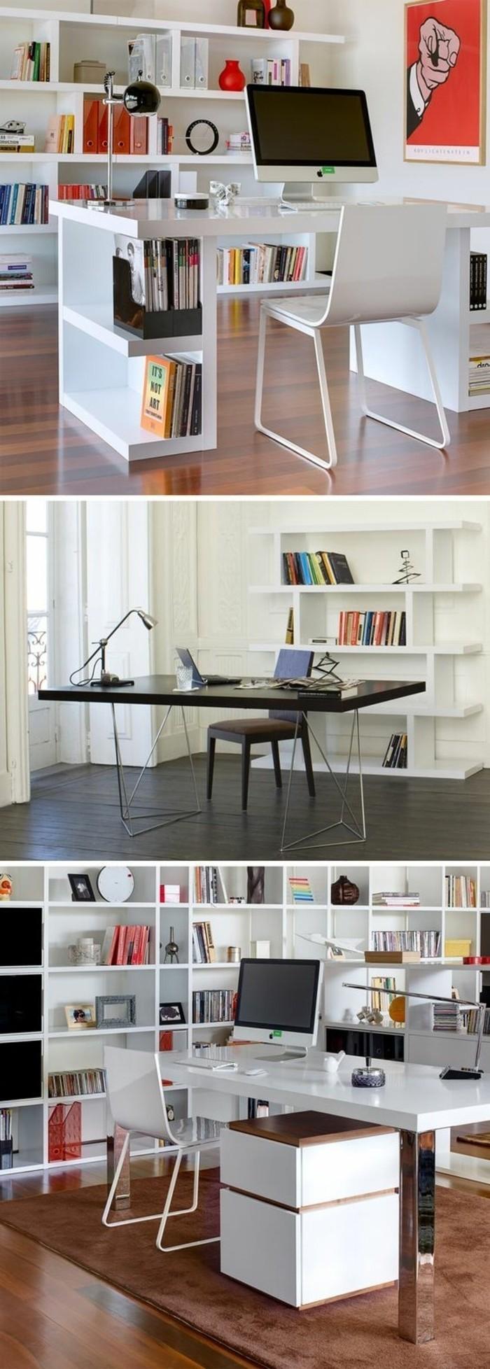 arbeitszimmer-einrichten-weisser-schreibtisch-stuhl-computer-buecher-regalsystem