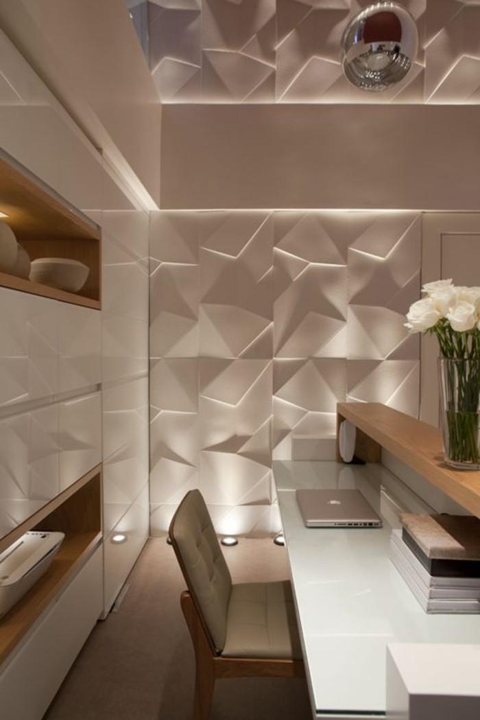 arbeitszimmer-ideen-3d-wandpaneele-stuhl-schrank-lamptop-schreibtisch-weisse-rosen