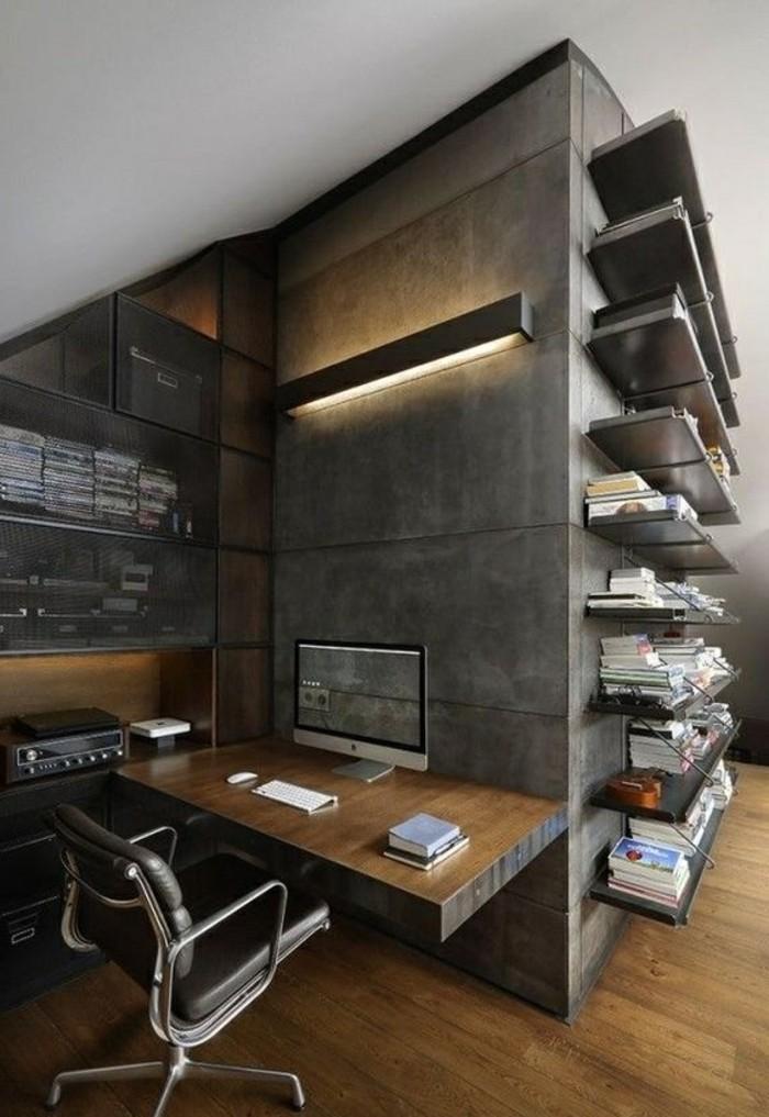 arbeitszimmer-ideen-lampe-regale-buecher-stuhl-schreibtisch-boden-aus-holz