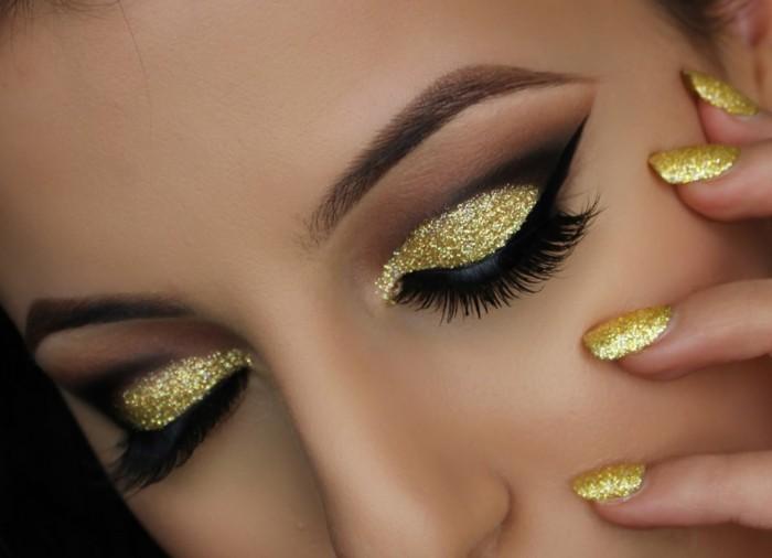 augen-make-up-anleitung-goldene-lidschatten-wimpern-lidstift-naegel-in-goldener-farbe