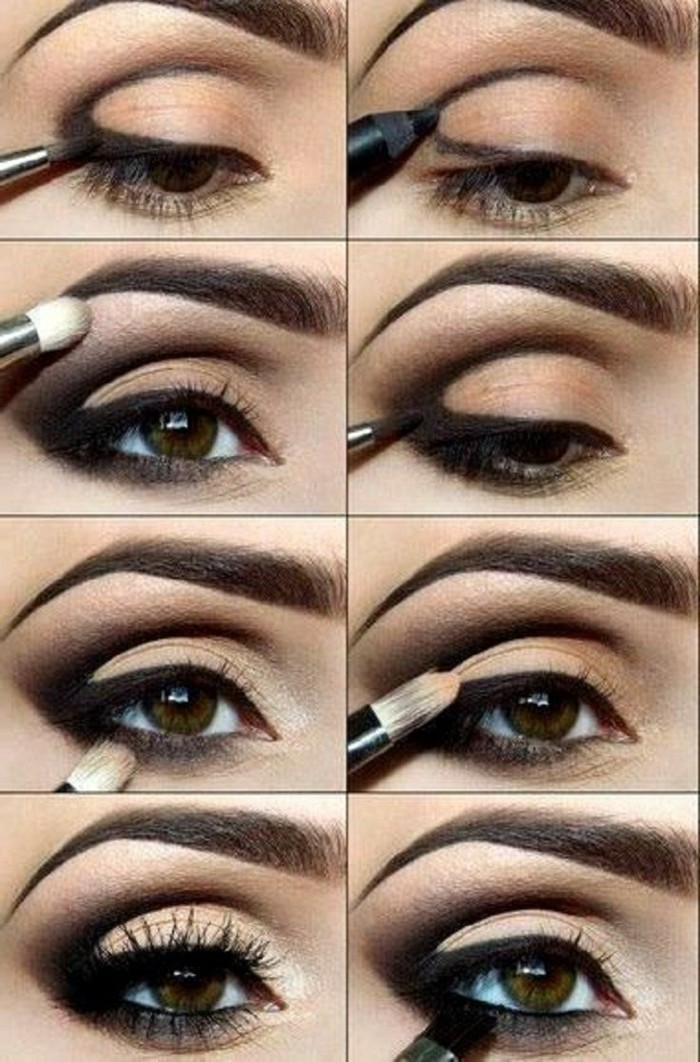 augenmakeup-smokey-eyes-selber-schminken-tolle-idee-pinsel-schwarze-lidschatten