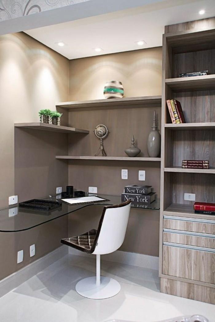 buero-einrichtungsideen-schreibtisch-aus-glas-schrank-regale-pflanze-buecher-stuhl-dekorationen