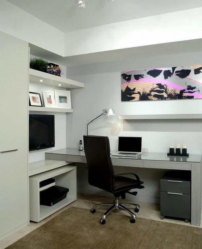 buero-einrichtungsideen-schwarzer-stuhl-fotos-bild-schrank-tischlampe-lamptop