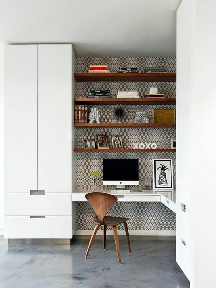 buero-einrichtungsideen-weisser-schrank-regale-tapete-fotos-buecher-stuhl-dekorationen