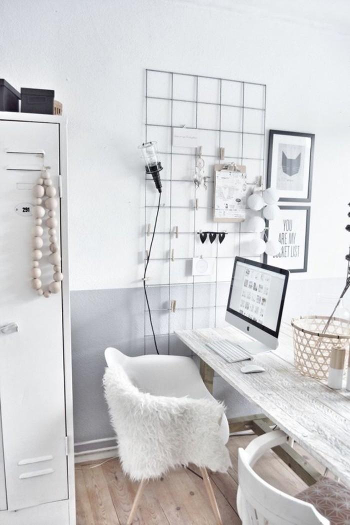buero-einrichtungsideen-weisser-stuhl-schrank-lampe-bilder-computer-klammer