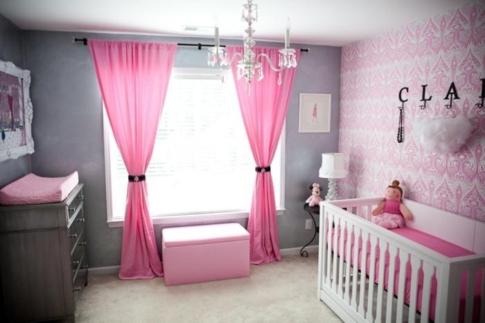 Babyzimmer Wandgestaltung Wandtatoo Namen Lange Rosa Gardinen Kommode