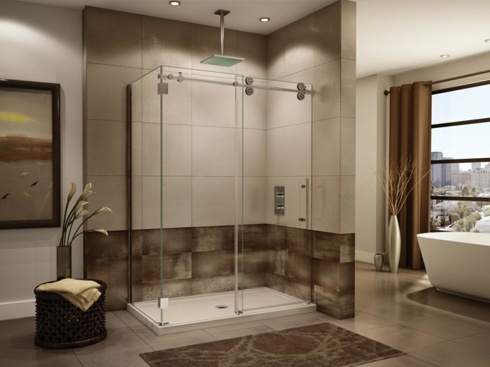 badezimmer-in-hellbraun-mit-eckige-duschkabine-aus-glas-fliesen-blumen-fenster-tuch