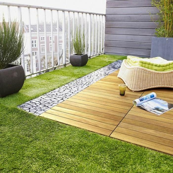 balkonideen-grass-holz-steine-hocker-zeitschrift-blumentöpfe-pflanzen