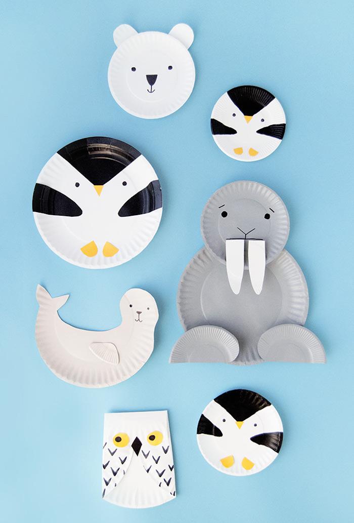 Tiere basteln mit Kindern, basteln mit Papptellern für Kleinkinder