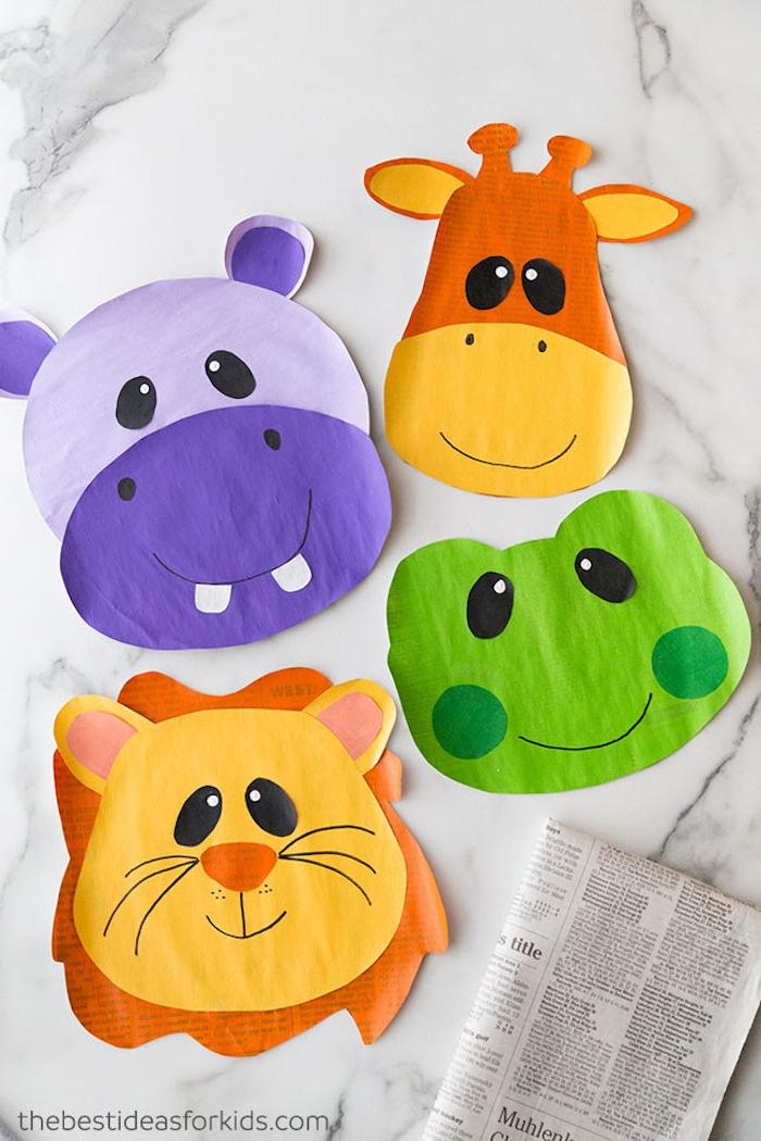 Tiere basteln mit Kindern, basteln mit Papier und Schere, Löwe Frosch Giraffe und Flusspferd