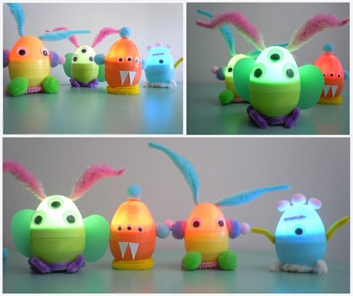 basteln-mit-kleinkindern-kleine-monster-mit-plastik-basteln