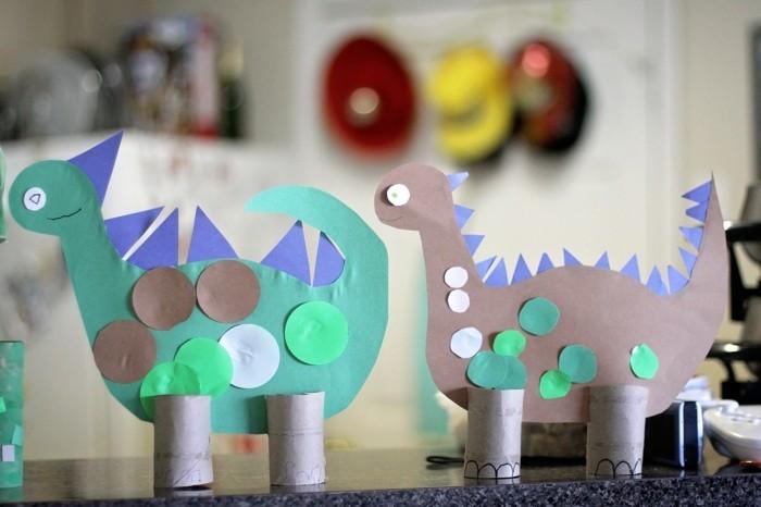 basteln-mit-klopapierrollen-geschenk-für-opa-basteln-dinosaurier-mit-papier-basteln